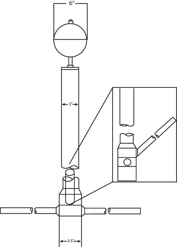 line drawing of a nautical flagpole