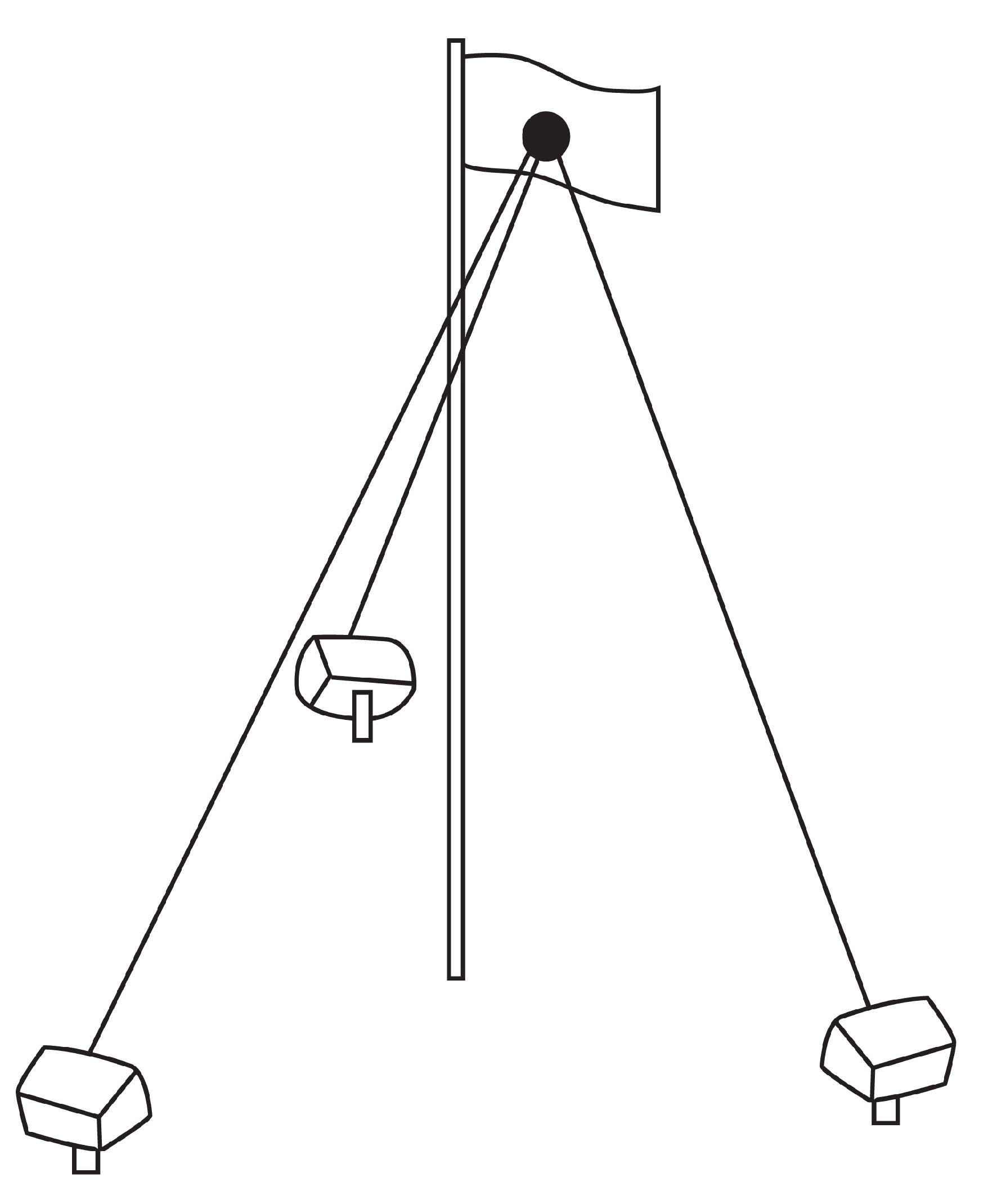 diagram of flagpole light placement